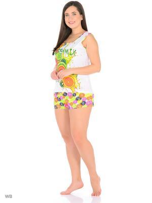 Домашний костюм ( майка, шорты) HomeLike. Цвет: зеленый, желтый, белый