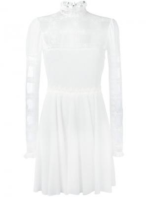 Платье с кружевными панелями Giamba. Цвет: белый