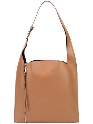 Классическая сумка-шоппер Elena Ghisellini. Цвет: коричневый