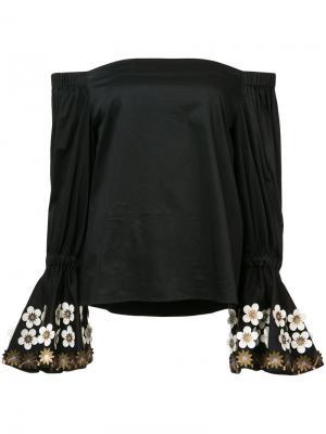 Блузка с открытыми плечами Alexis. Цвет: чёрный