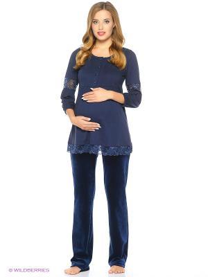 Комплект женский для беременных и кормящих Hunny Mammy. Цвет: темно-синий