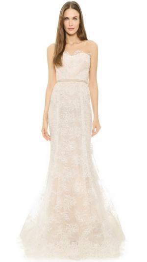 Вечернее платье Im Beautiful без бретелек Reem Acra. Цвет: золотой