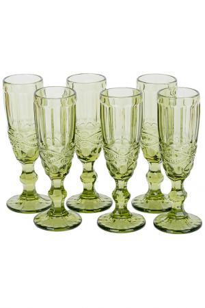 Набор бокалов для шампанского EDG. Цвет: зеленый