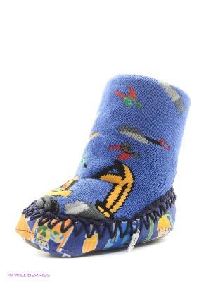 Тапочки-носки противоскользящие BROSS. Цвет: синий, темно-синий