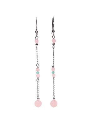 Серьги-цепочки Пастель с розовым цварцем и амазонитом Amorem. Цвет: бирюзовый, бледно-розовый, серебристый