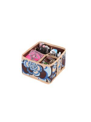 Кофр складной для косметики и мелочей 4 ячейки Прованс COFRET. Цвет: бежевый, коричневый, голубой