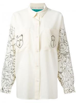 Рубашка с принтом лиц Jc De Castelbajac Vintage. Цвет: телесный