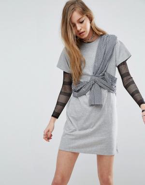 ASOS Платье-футболка с отделкой в клеточку. Цвет: серый