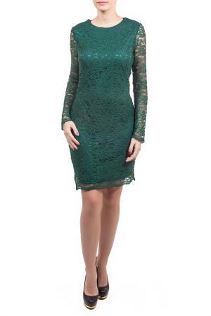 Платье, бусы Piena. Цвет: зеленый