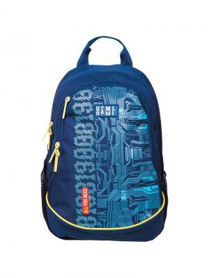 Рюкзак Style Game 42*30*17см, 2 отделения, 4 кармана, эргономичная спинка Berlingo. Цвет: синий, желтый