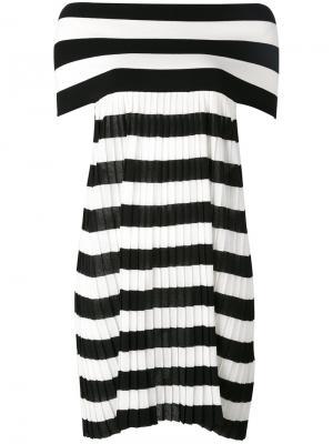 Полосатое платье с открытыми плечами IM Isola Marras I'M. Цвет: белый