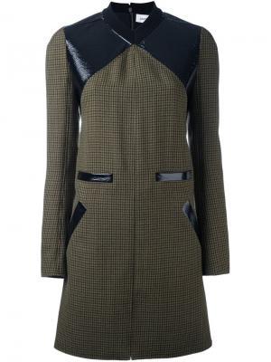 Твидовое платье шифт с контрастной панелью Courrèges. Цвет: зелёный