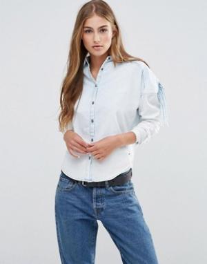 Maison Scotch Стильная рубашка цвета индиго. Цвет: синий