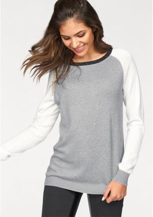 Пуловер AJC. Цвет: светло-серый/цвет белой шерсти/черный