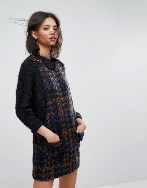 Anna Sui Платье-сарафан из твидового трикотажа крупной вязки. Цвет: мульти