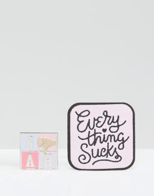 OHH DEER Набор из нашивки и значка Everything Sucks. Цвет: мульти