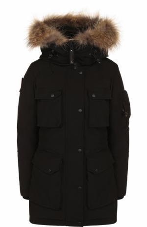 Пуховая парка с меховой отделкой капюшона Arctic Explorer. Цвет: черный