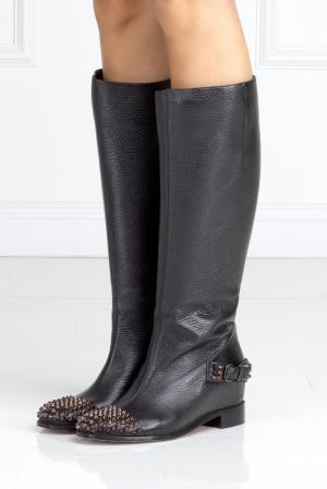 Кожаные сапоги Egoutina Flat Christian Louboutin. Цвет: черный