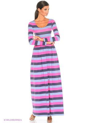 Длинное платье Полоска серо-розовая ANASTASIA PETROVA