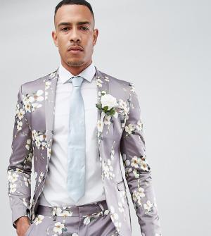ASOS Серый приталенный блейзер с цветочным принтом TALL Wedding. Цвет: серый