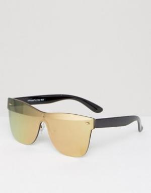 AJ Morgan Золотистые солнцезащитные очки с плоским верхом. Цвет: золотой