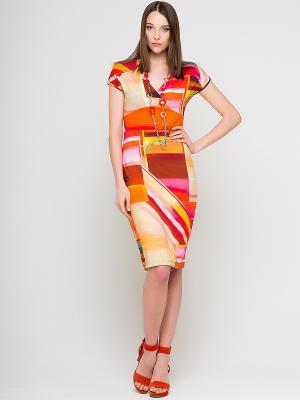 Платье Elena Shipilova. Цвет: желтый, коралловый, красный, оранжевый