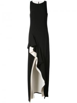 Вечернее платье с контрастной окантовкой Halston Heritage. Цвет: чёрный