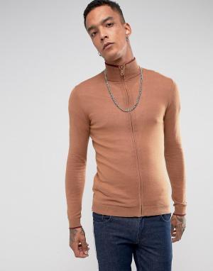 ASOS Облегающая спортивная куртка цвета ржавчины. Цвет: оранжевый