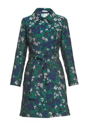 Тренч из искусственного шелка и хлопка с поясом 163195 Anna Verdi. Цвет: зеленый