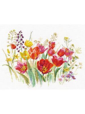 Набор для вышивания Полевые тюльпаны 30х21 см , Алиса. Цвет: белый, зеленый, красный
