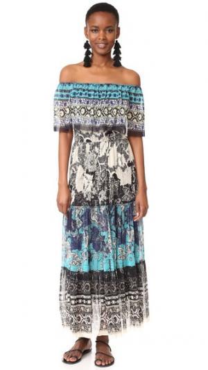 Платье с открытыми плечами Fuzzi. Цвет: мальдивские острова