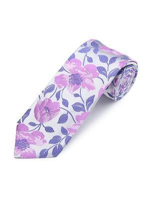 Галстук White Floral Mix Duchamp. Цвет: сиреневый, бледно-розовый, розовый, светло-серый