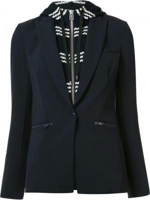 Многослойный пиджак с капюшоном Veronica Beard. Цвет: синий