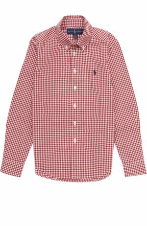 Хлопковая рубашка в мелкую клетку с воротником button down Polo Ralph Lauren. Цвет: красный