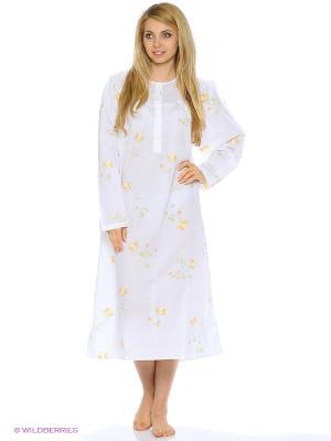 Сорочка с длинным рукавом La Pastel. Цвет: белый, оранжевый