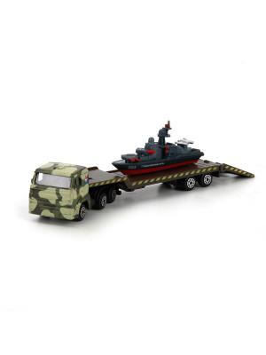 Набор металлических машин Вооруженные силы. Камаз-перевозчик с кораблем на прицепе. Технопарк. Цвет: зеленый, красный, серый