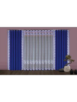 Комплект штор Wisan. Цвет: синий, белый
