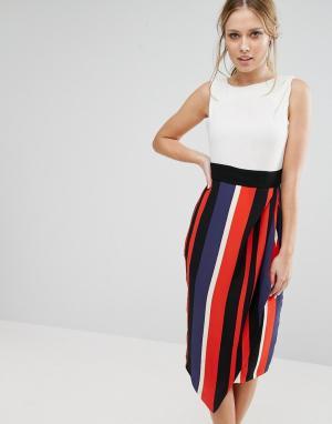 Closet London Контрастное платье миди 2 в 1 - Мульти 5576731