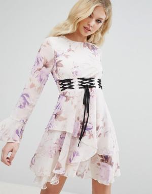 Missguided Платье с цветочным принтом и отделкой в стиле корсета. Цвет: фиолетовый