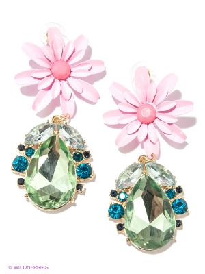 Серьги Milana Style. Цвет: розовый, зеленый
