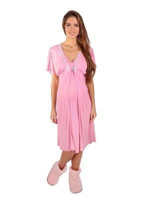 Сорочка, Халат MamaLine. Цвет: розовый