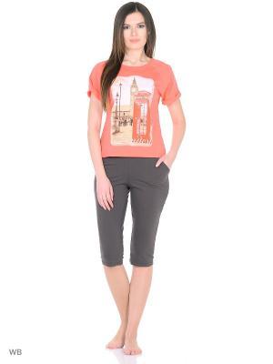 Костюм-футболка, бриджи NAGOTEX. Цвет: розовый, черный