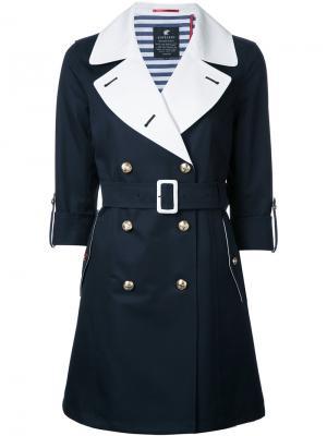Пальто с поясом и контрастными лацканами Loveless. Цвет: синий