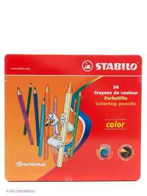Набор цветных карандашей, 24 цв. Stabilo. Цвет: красный