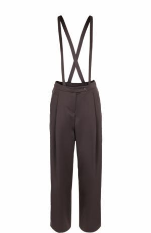 Однотонные брюки с защипами и подтяжками Armani Collezioni. Цвет: коричневый