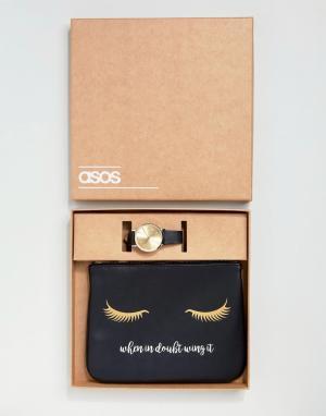 ASOS Подарочный набор с косметичкой и часами. Цвет: черный