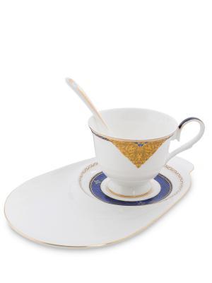 Чайная пара Золотой Палермо (Gold Palermo Pavone) Pavone. Цвет: белый, золотистый, синий