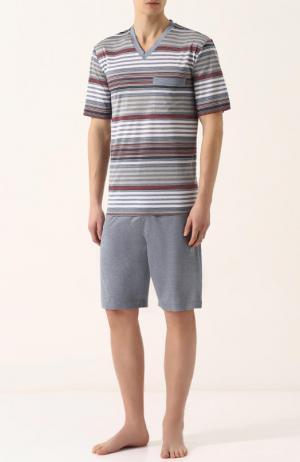Хлопковая пижама с шортами и футболкой в полоску Zimmerli. Цвет: серый