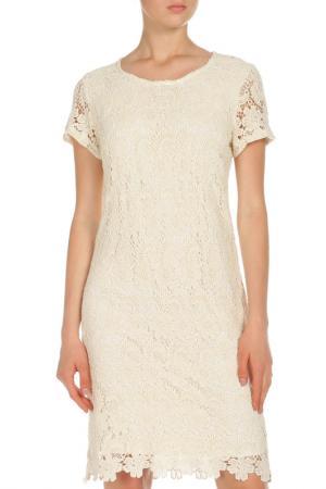 Кружевное платье с короткими рукавами OUI. Цвет: молочный