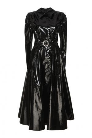 Однотонное пальто Alessandra Rich. Цвет: черный